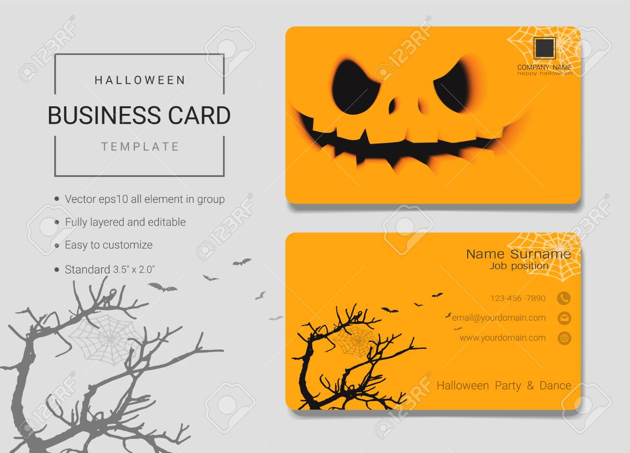 Halloween business card or name card template simple style also halloween business card or name card template simple style also modern and elegant with creepy flashek Gallery