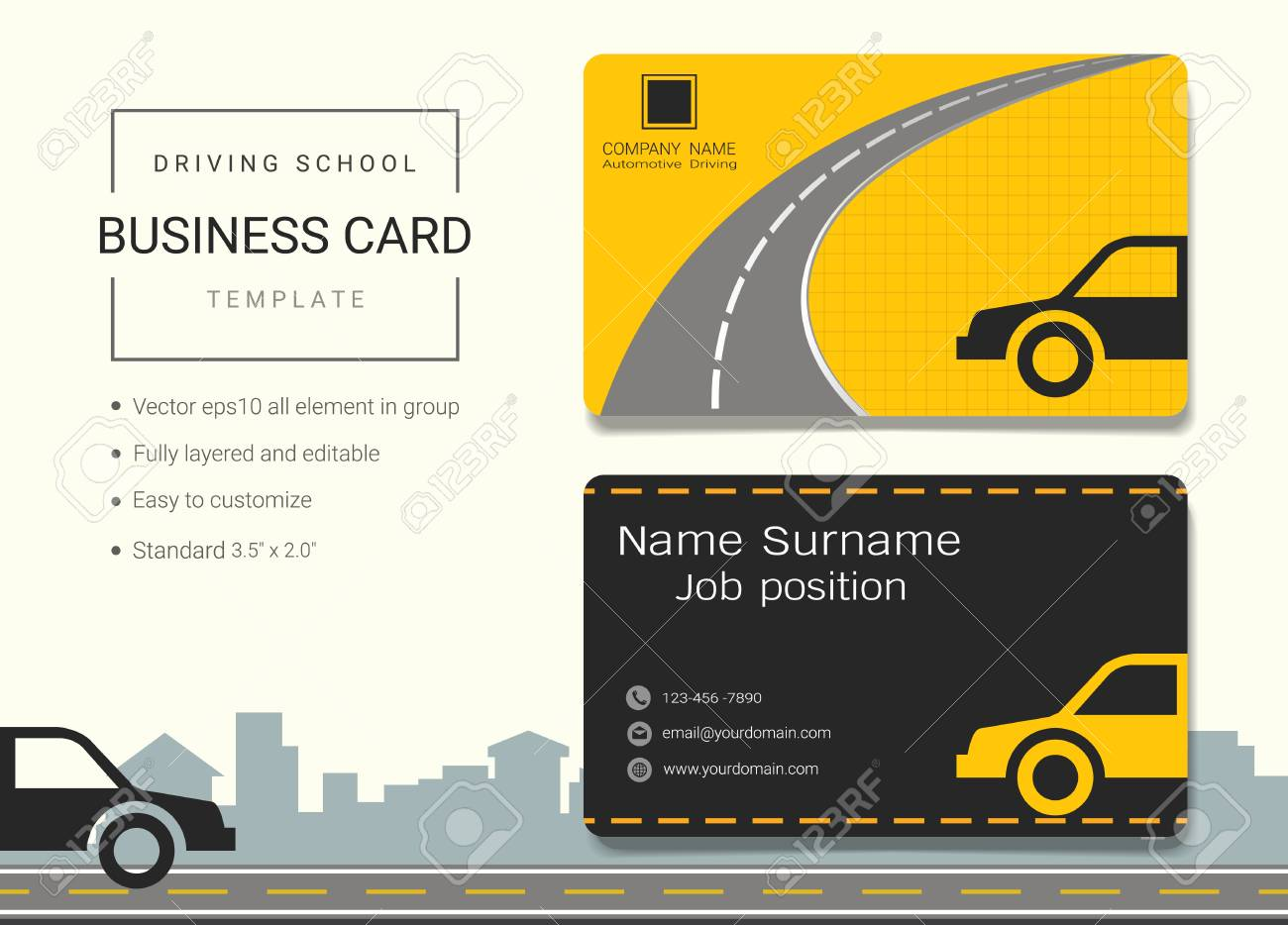 Driving School Business Card Or Name Card Template. Simple Style ...