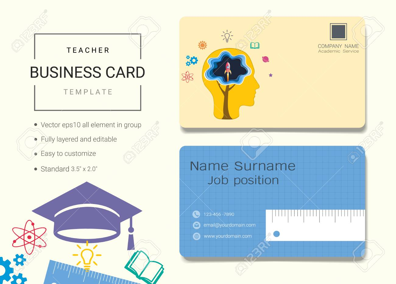 Teacher business card or name card template simple style also teacher business card or name card template simple style also modern and elegant with education friedricerecipe Choice Image