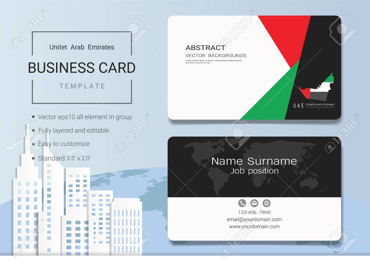 Uae abstract business card or name card template emirates banner uae abstract business card or name card template emirates banner for independence day and other cheaphphosting Choice Image