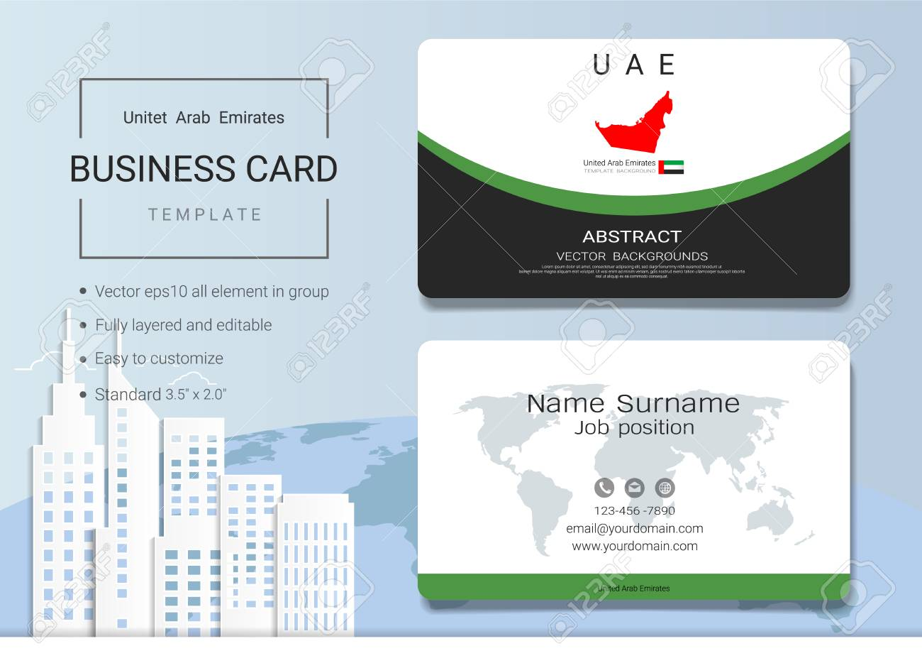 UAE Abstract Business Card Or Name Card Template Emirates Banner - Name banner template