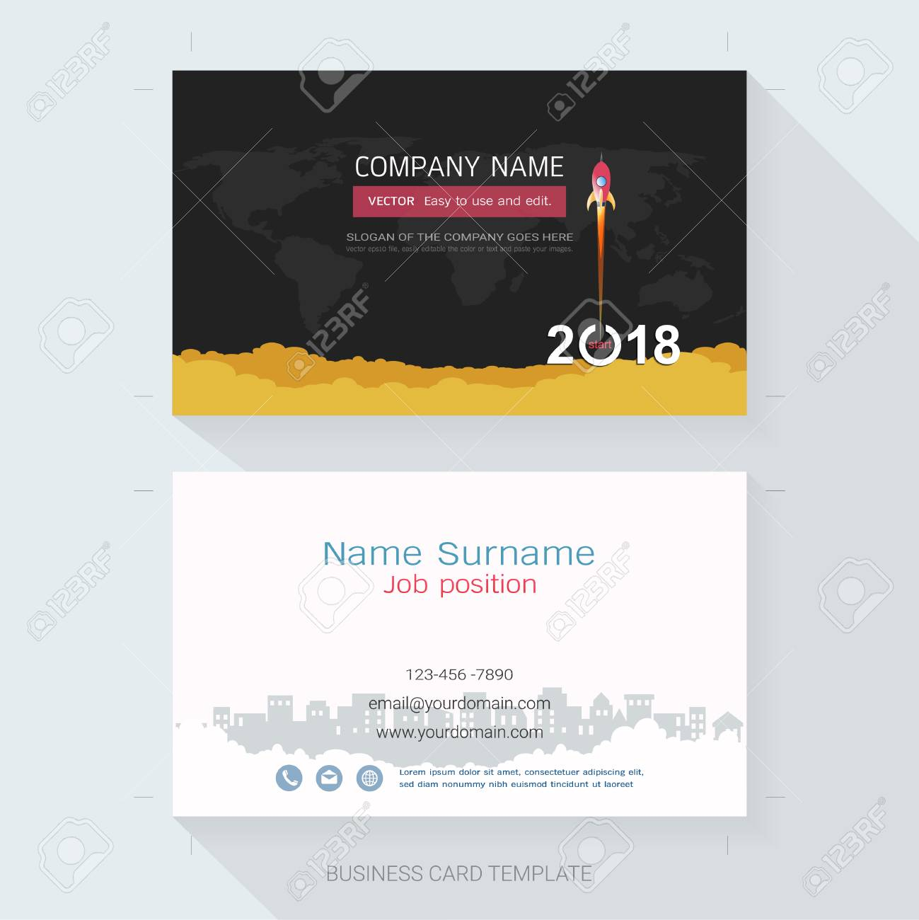 Name Card Or Business Card Design Template The Style Is Simple