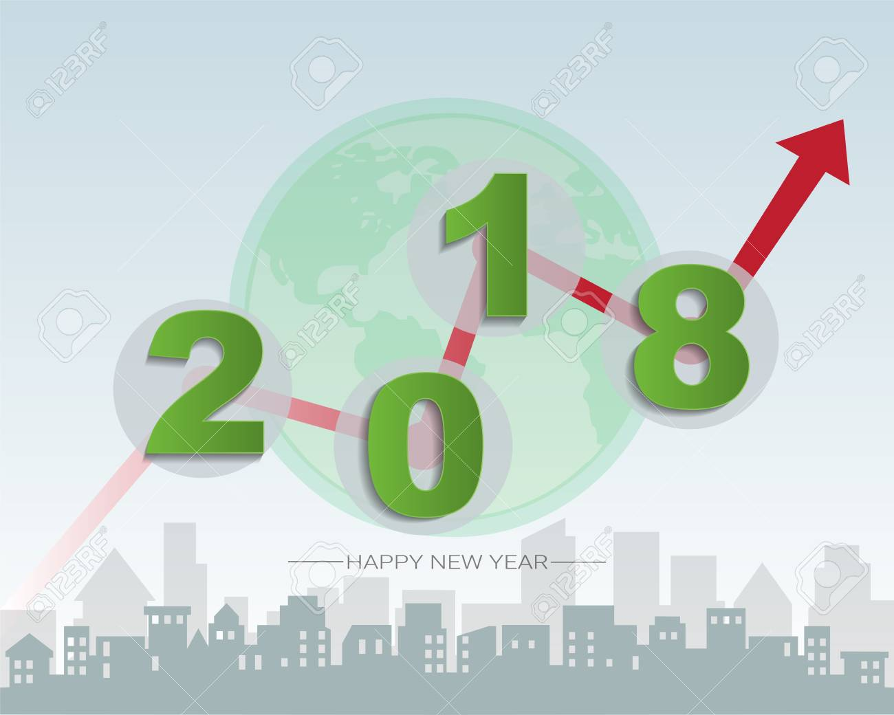 2018 Happy New Year Concept, Symbols Of Beginning And Celebration ...