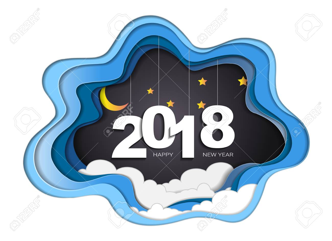 2018 Happy New Year Concept With Moon And Stars Symbols Of