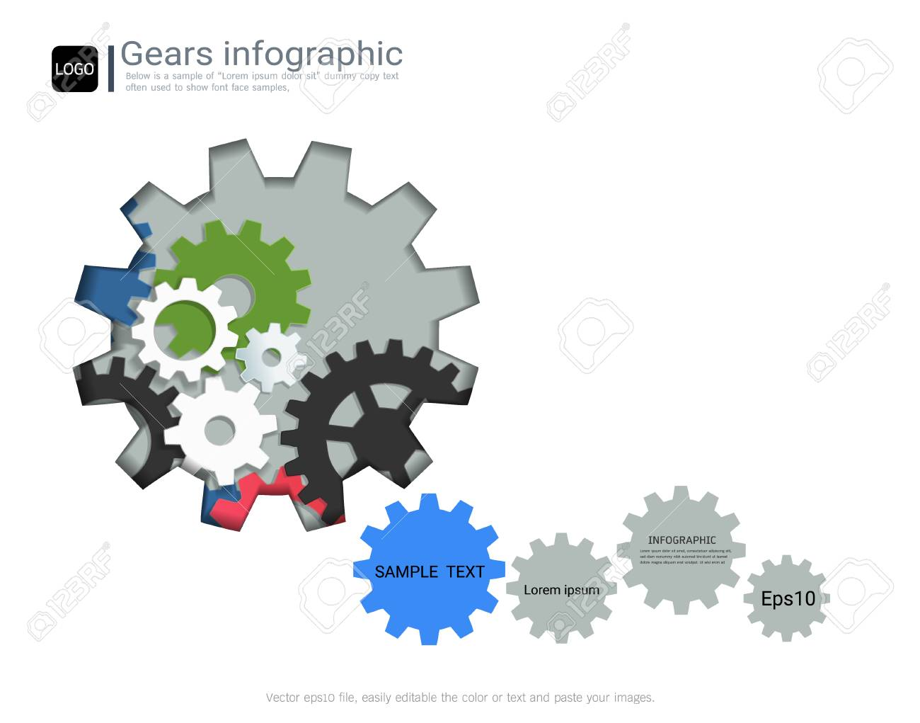 gears infographic template for business presentation strategic