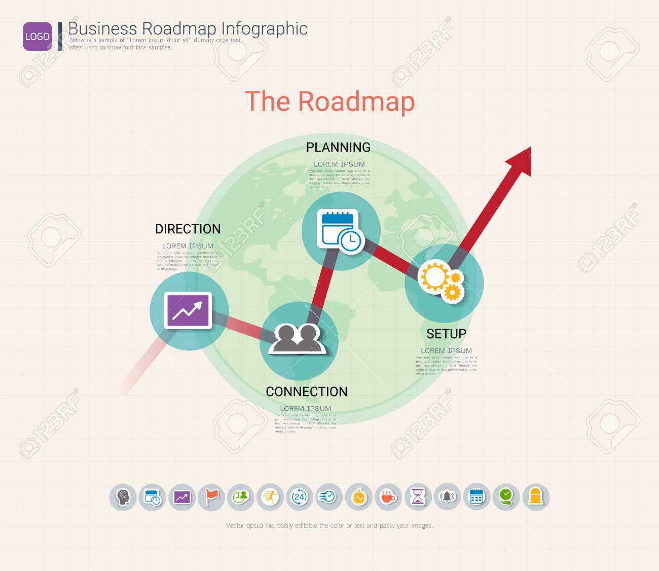 roadmap timeline infographic design template key success and presentation of project ambitions can be