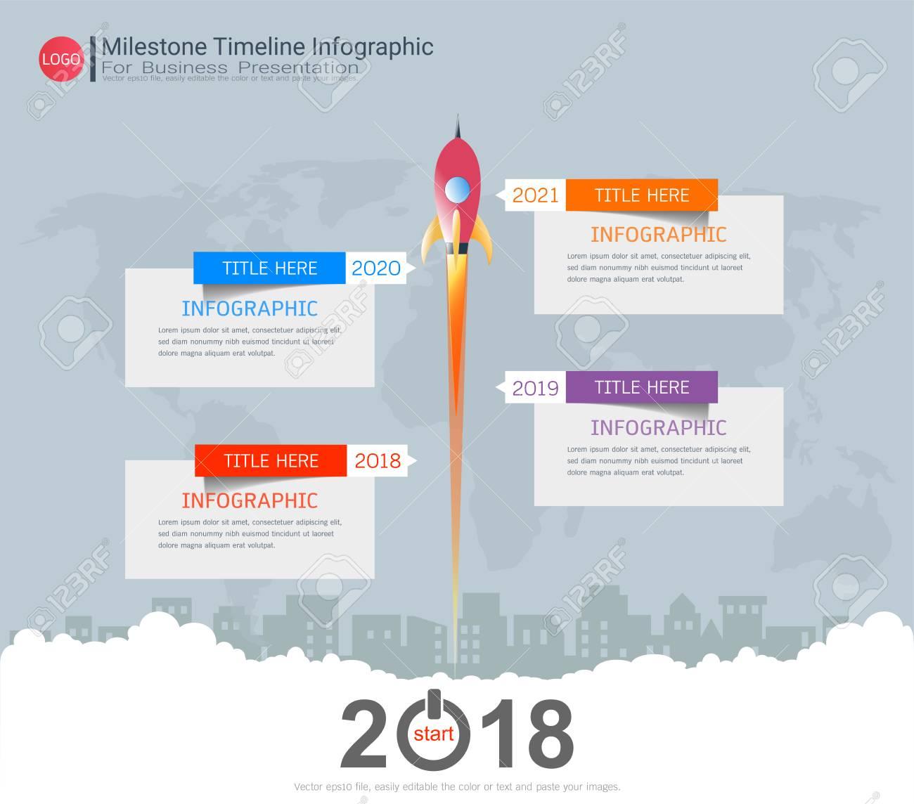 Milestone Timeline Infographic Design, Roadmap Or Strategic Plan ...