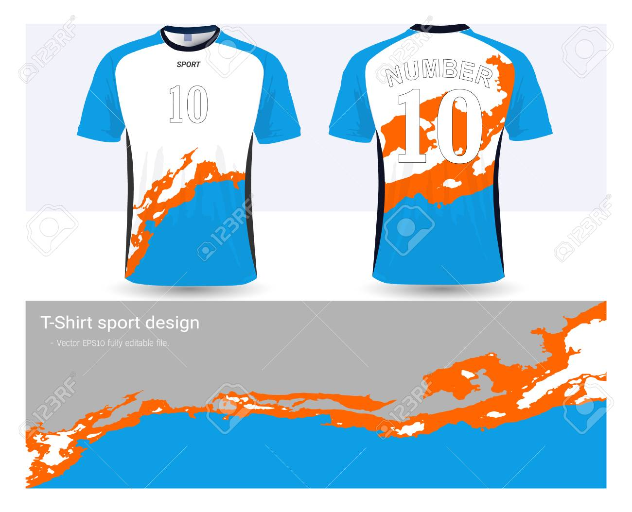 242f418ae Soccer jersey and t-shirt sports design template, front and back for  football club