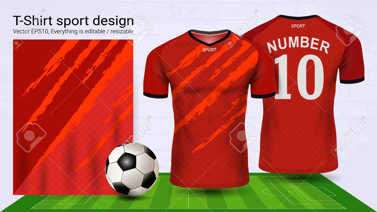 Soccer jersey and t-shirt sport mockup template - 99991949