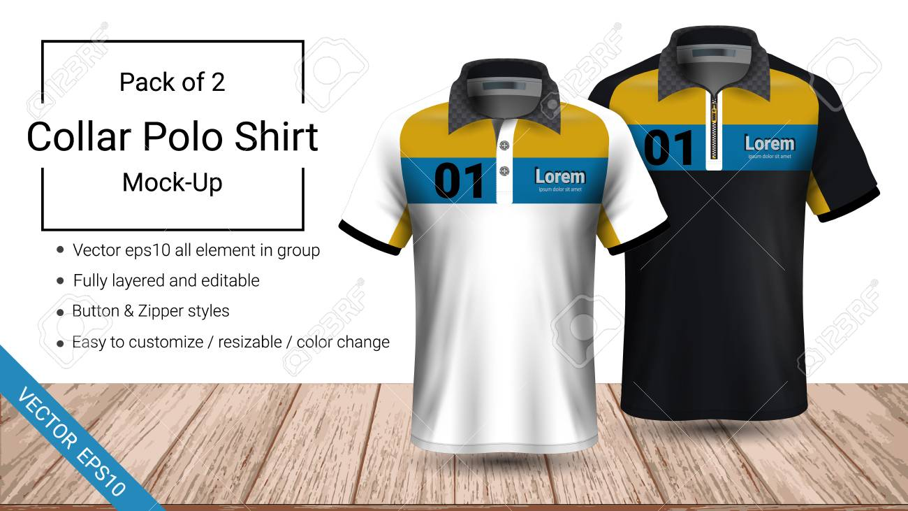 Polo Collar T Shirt Template Fully Layered And Editable Prepared