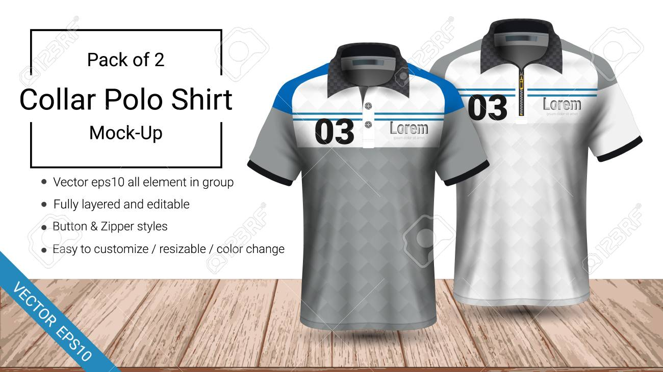 Polo Collar T Shirt Template Fully Layered And Editable Prepared To Showcase The Custom