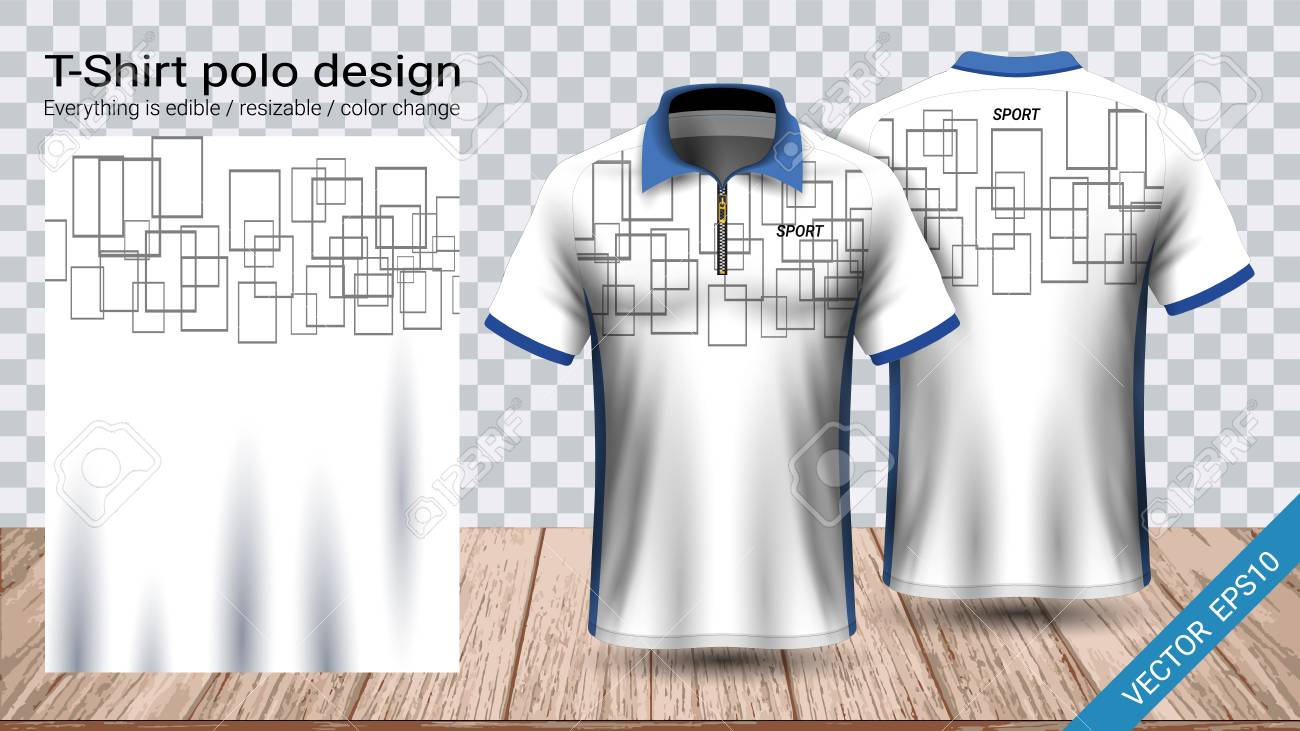Polo t-shirt with zipper, Soccer jersey sport mockup template for football  kit or