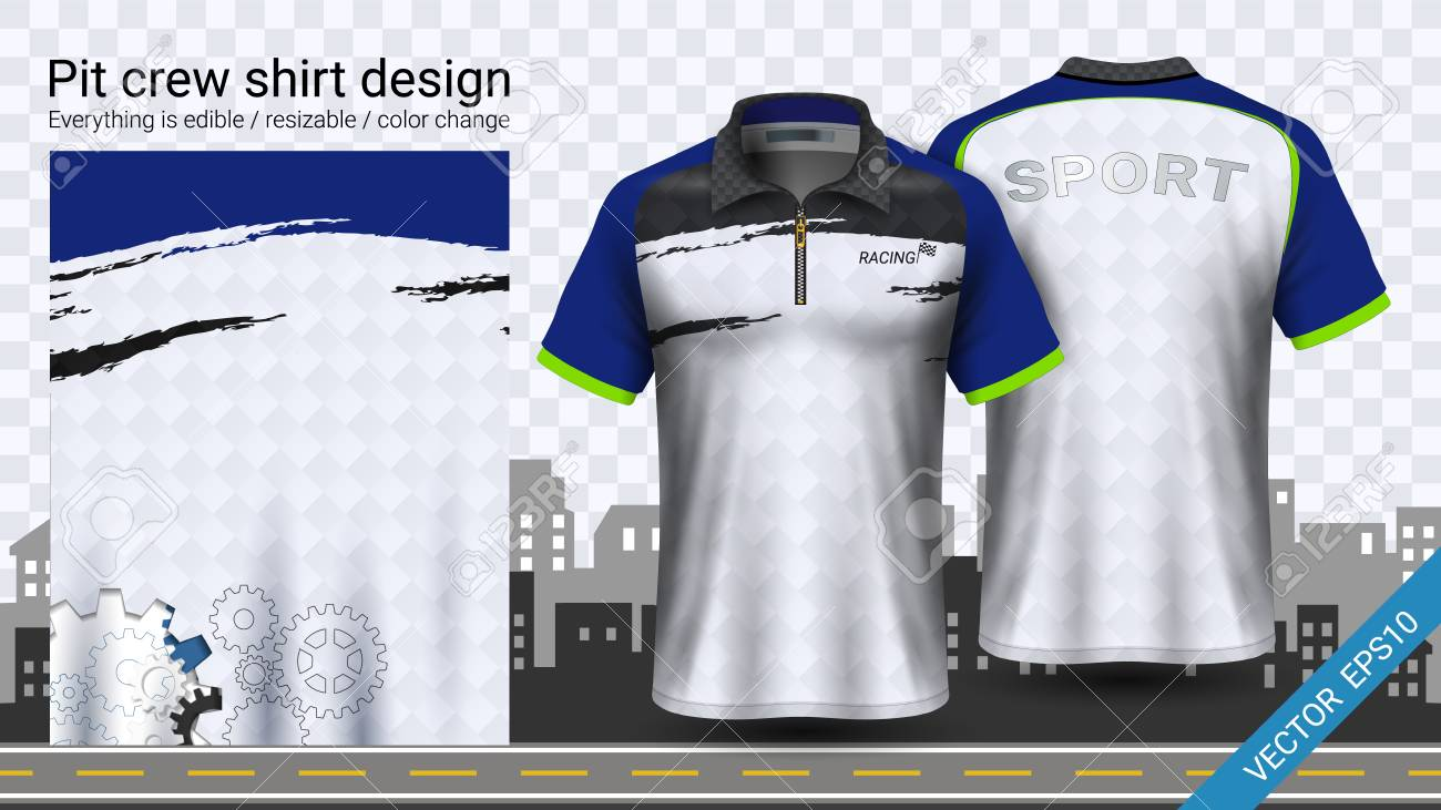 Polo t-shirt with zipper, Jersey mockup template for sports clothing