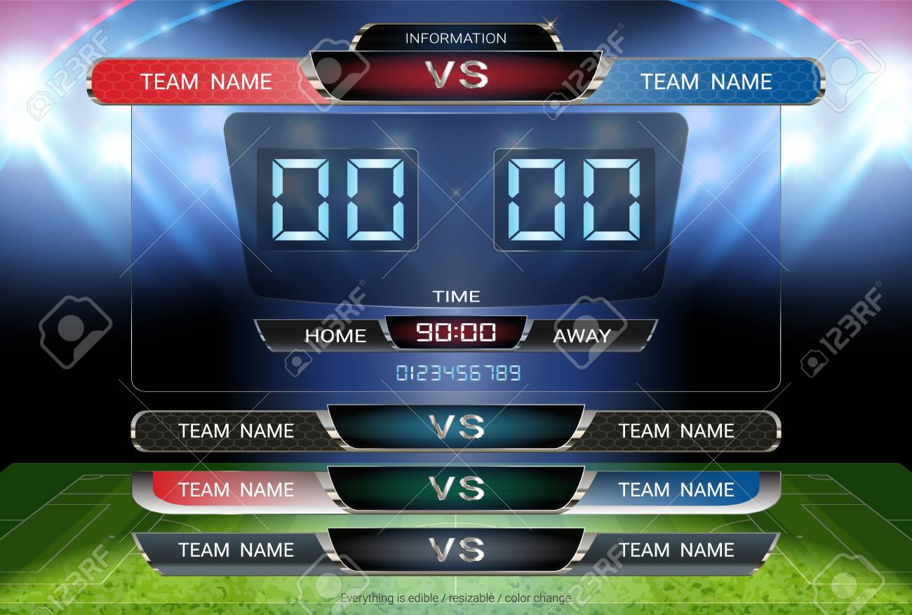 digital timing scoreboard and lower thirds template soccer or