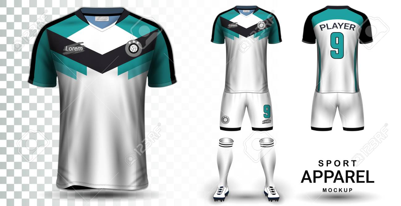 Soccer Jersey and Football Kit Presentation Mockup Template, Front and Back View Including Sportswear Uniform, Shorts and Socks and it is Fully Customization Isolated on Transparent Background. - 107415374