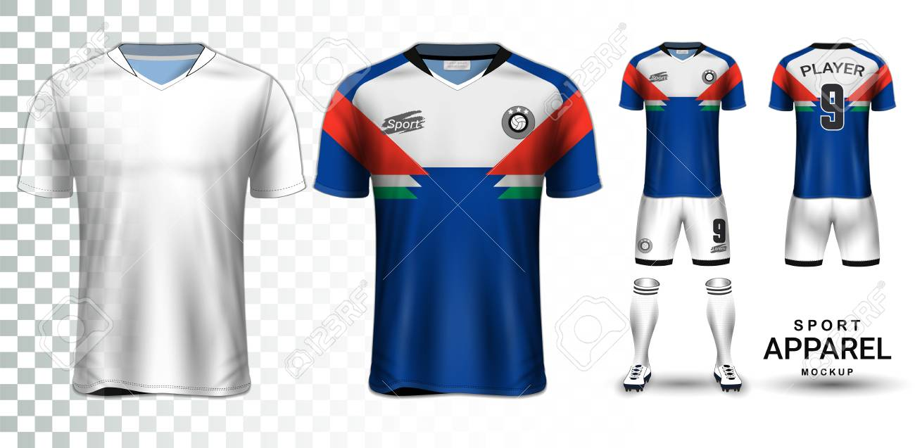 Soccer Jersey and Football Kit Presentation Mockup, The T-shirt Front and Back View and it is Fully Customization Isolated on Transparent Background, Can be used as a template with your own design. - 110682127