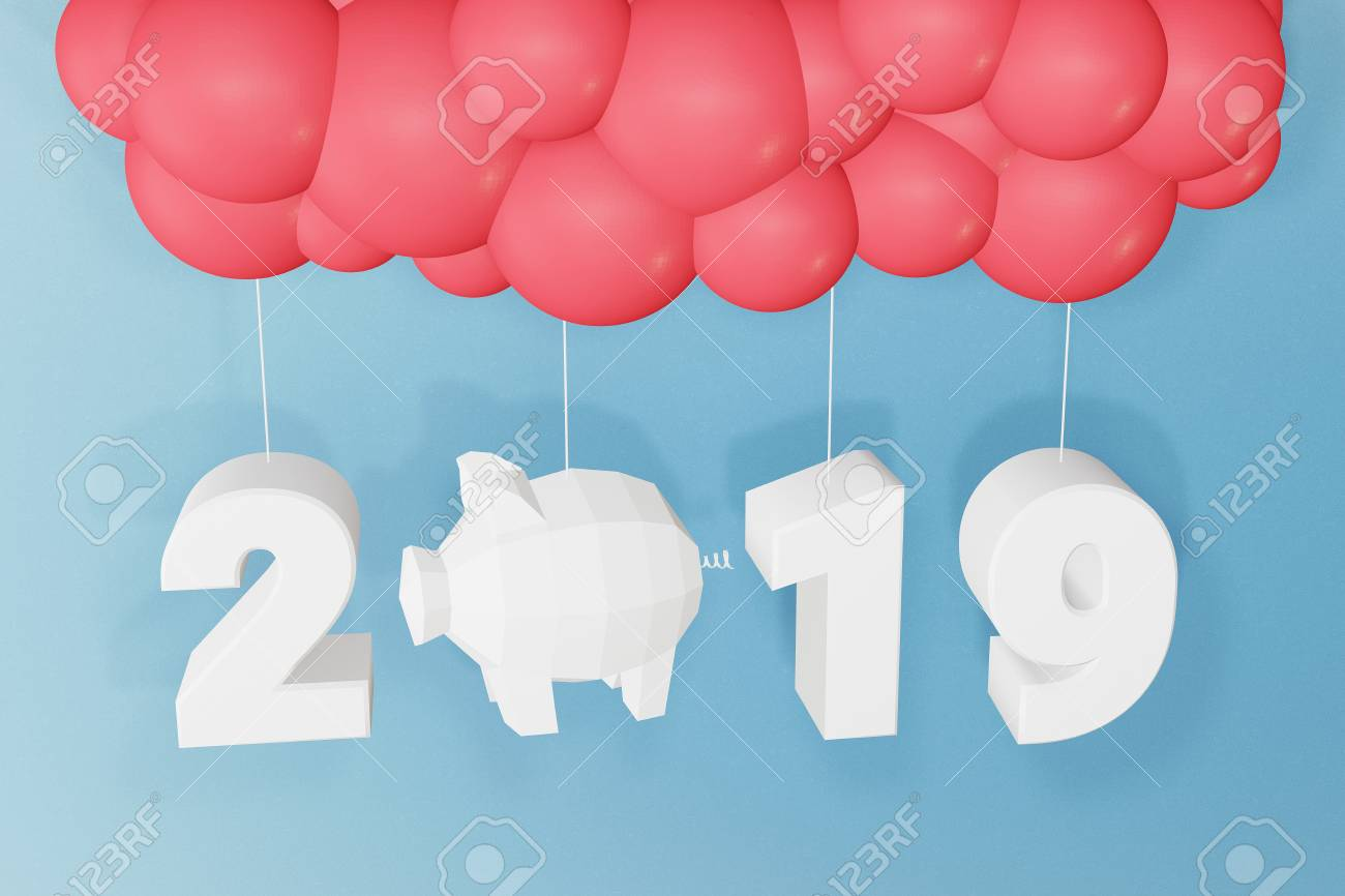 Happy New Year 2019 Text Design And Balloons On A Blue Background