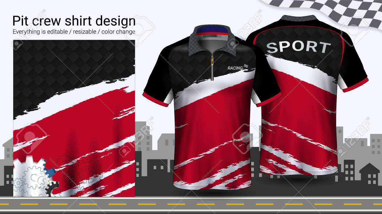 f8592ff4 Polo t-shirt with zipper, Racing uniforms mockup template for Active wear  and Sports
