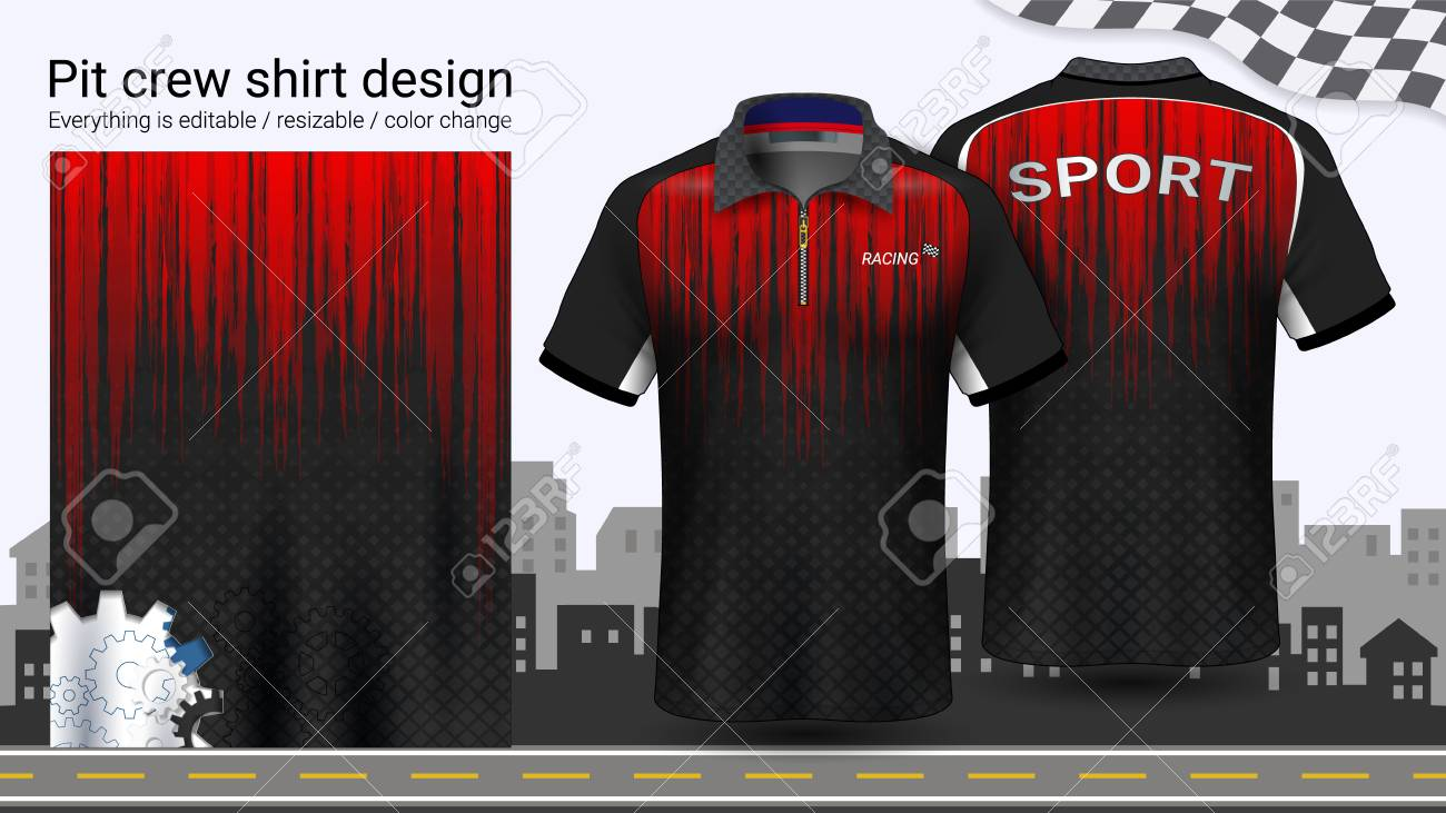 Polo t-shirt with zipper, Racing uniforms mockup template for