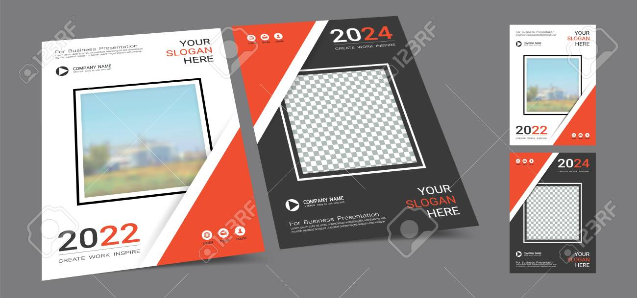 Poster cover book design template in A4 layout with space for photo background, Cmyk 2 tone color suitable for annual report, proposal, portfolio, brochure, flyer, leaflet, catalog, magazine, booklet. - 132033634