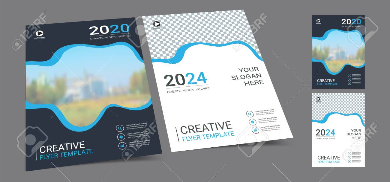 Poster cover book design template in A4 layout with space for photo background, Cmyk 2 tone color suitable for annual report, proposal, portfolio, brochure, flyer, leaflet, catalog, magazine, booklet. - 132033120
