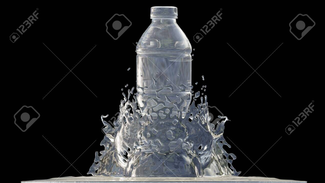 Bottle of water with splashes, 3D Render process, 4k Ultra HD 3840x2160. - 139551237