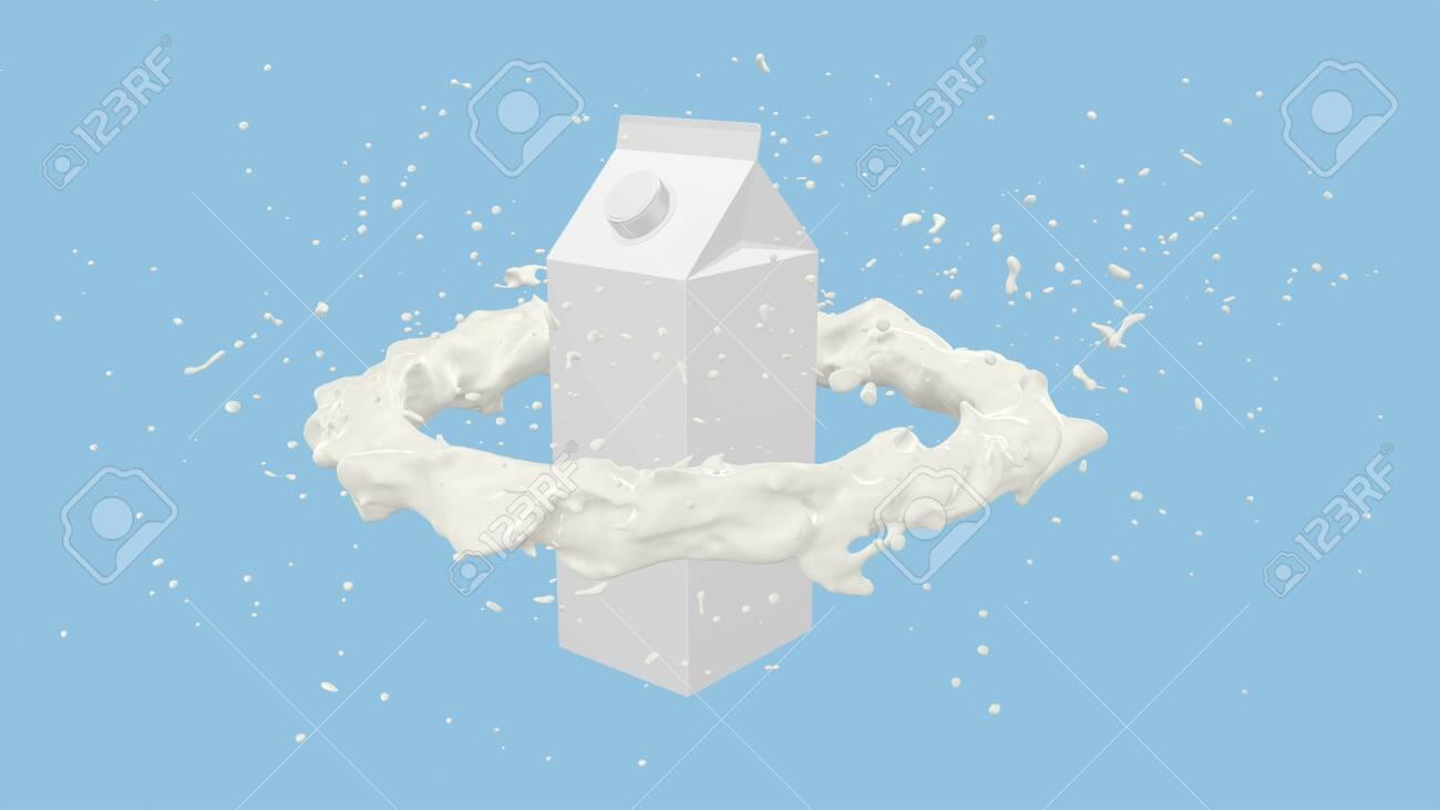 3D render of Milk carton box with Milk flow splashes, 4k Ultra HD 3840x2160. - 141195776