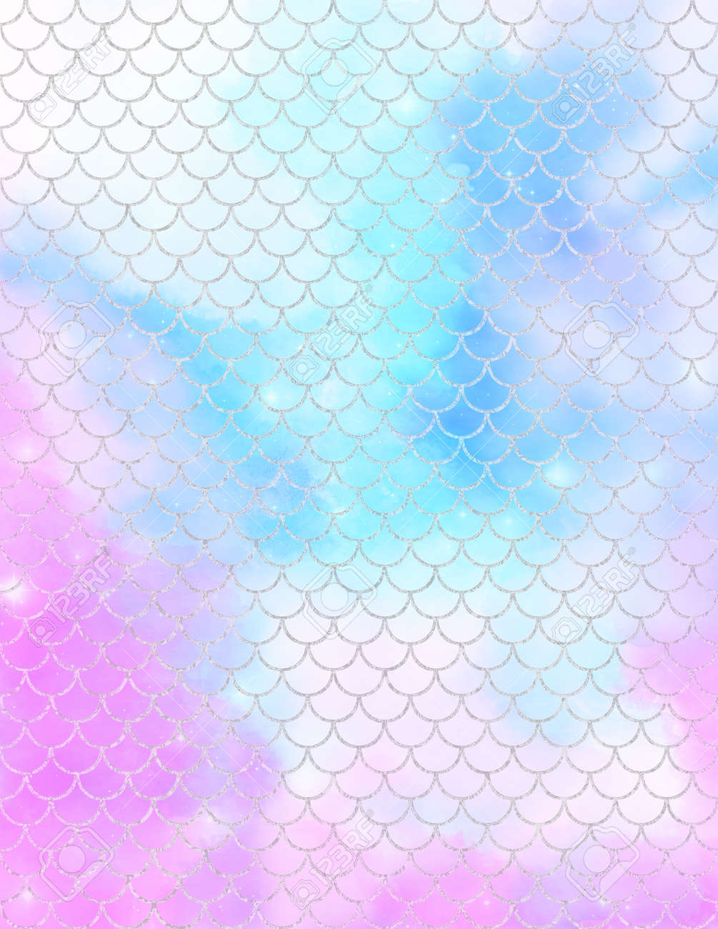 Mermaid scale digital paper, Colorful pastel watercolor texture covers set. - 169697626