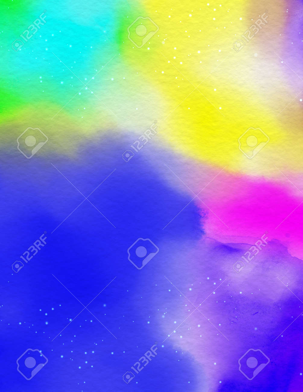 Abstract rainbow watercolor covers set, The color splashing on the paper. - 169697629