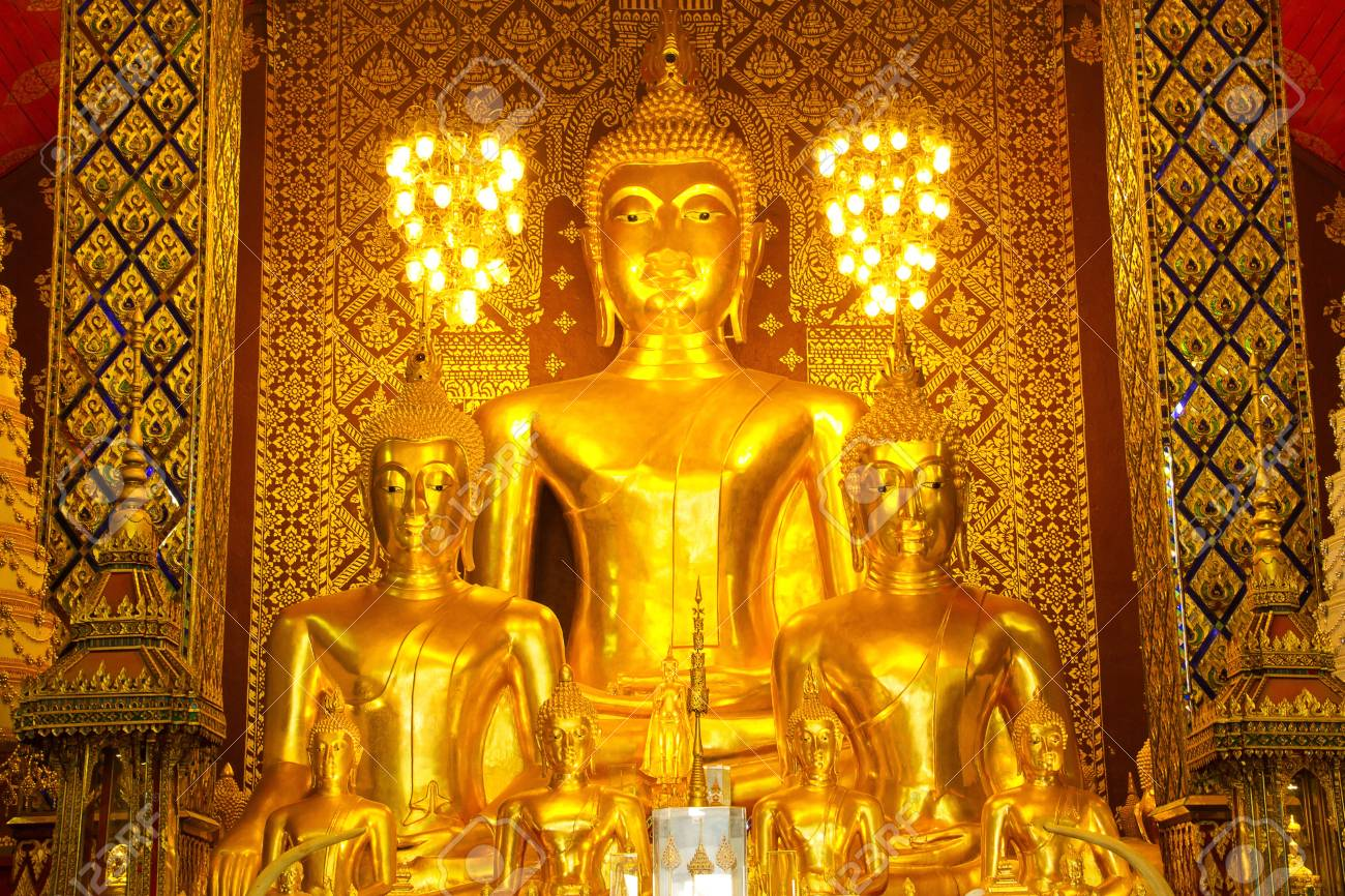 The golden buddha statue in a temple,Thailand Stock Photo - 13795930
