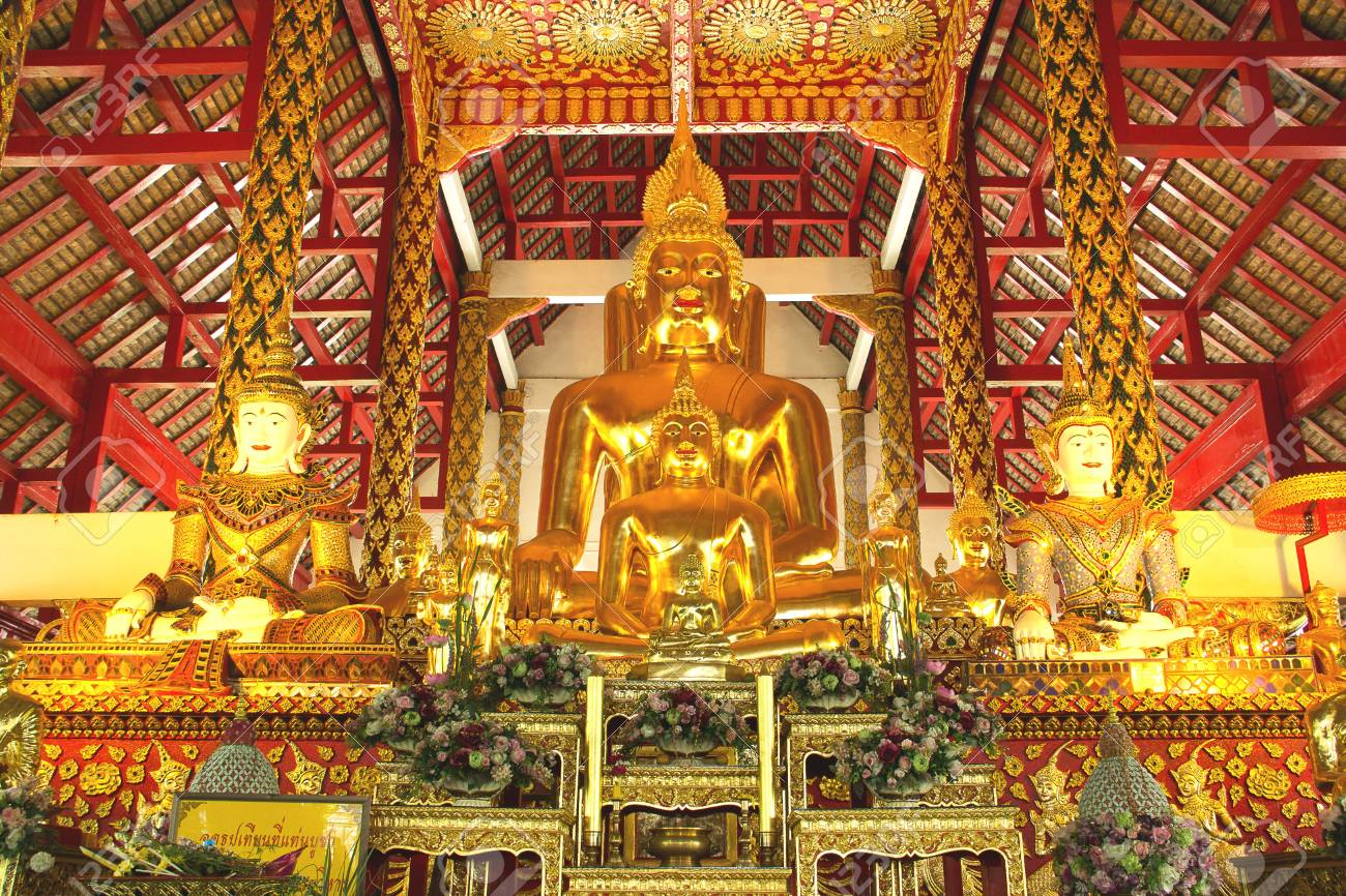 The golden buddha statue in a temple,Thailand Stock Photo - 13795493
