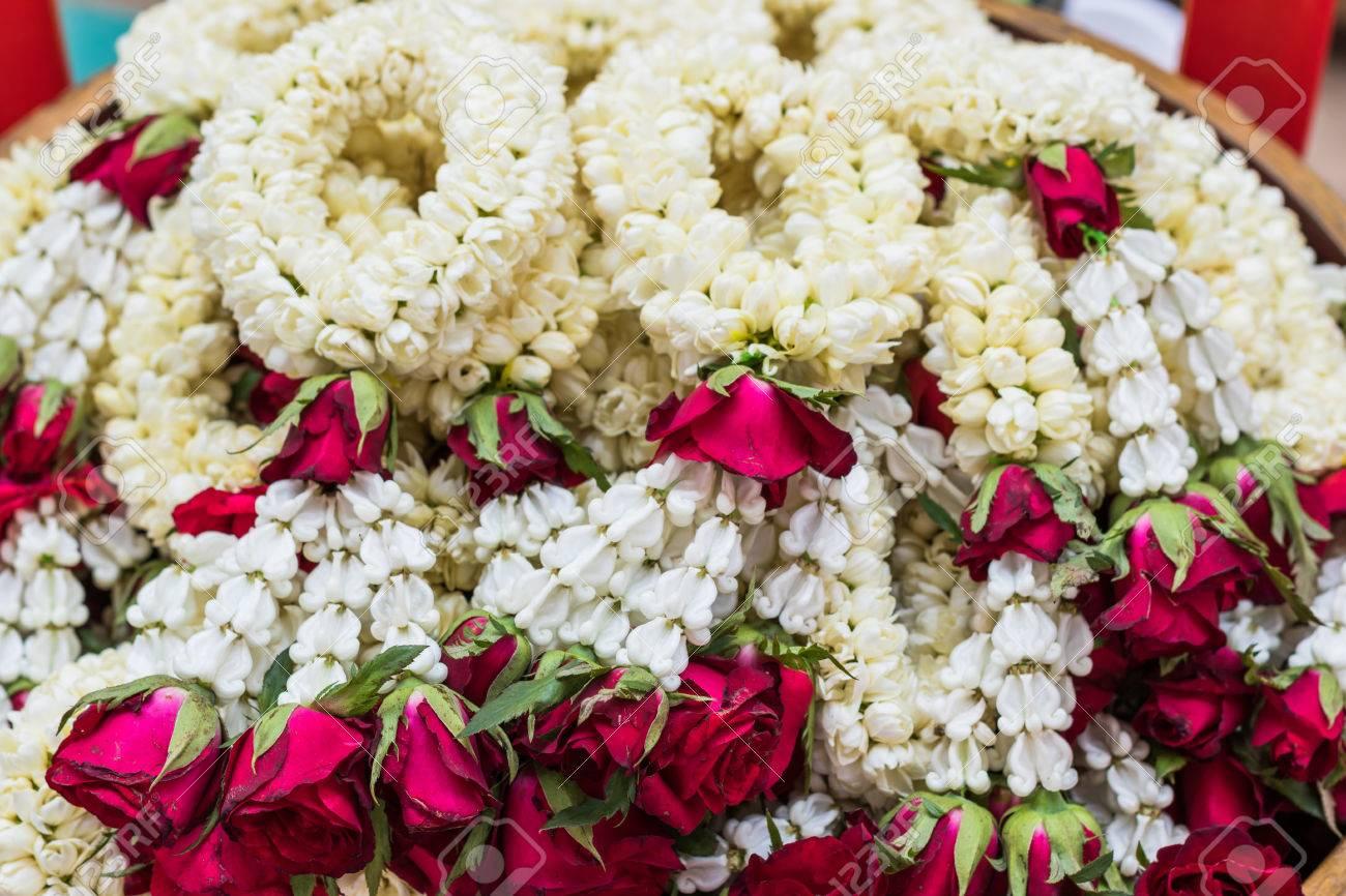 Fresh Jasmine Flowers Garland For Religion Ceremony Background Stock