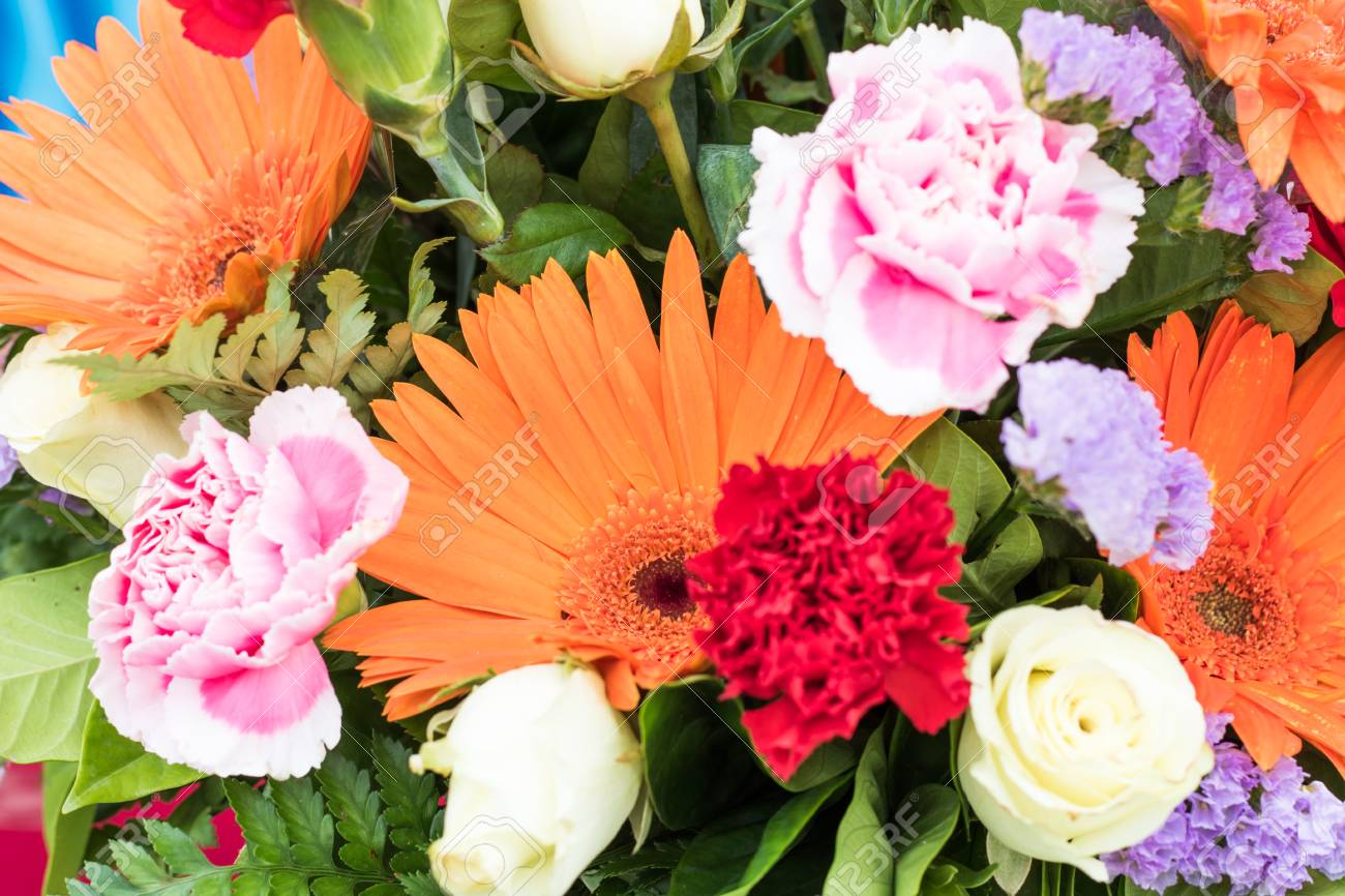 Mix Of Summer Flowers Bouquet For The Decorations Stock Photo