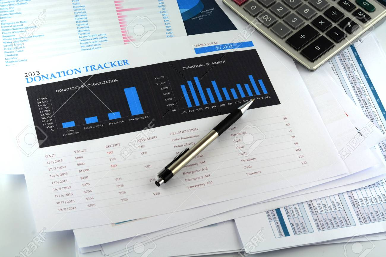 donation tracker sheet chart stock photo picture and royalty free