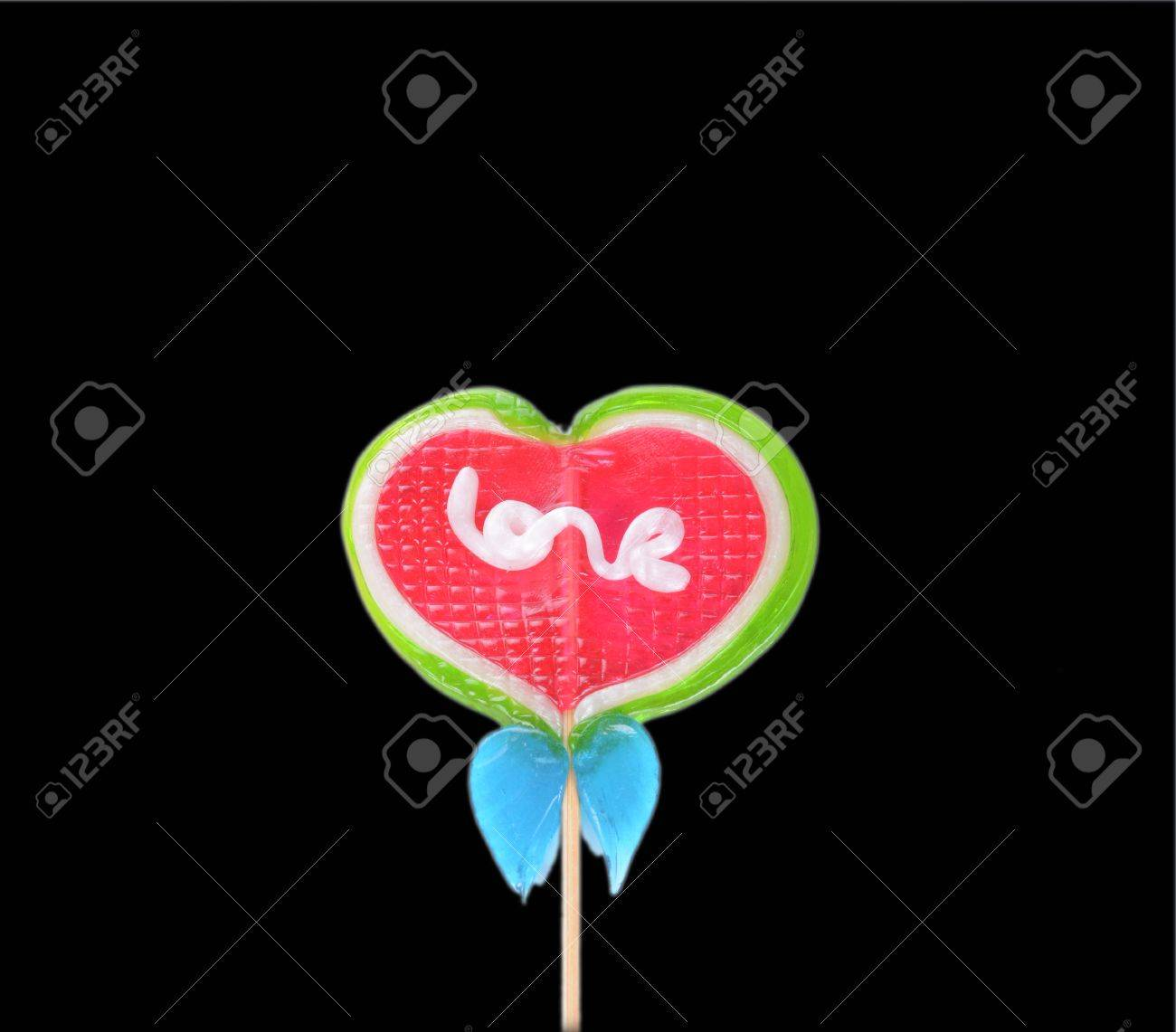 Caramelo Del Corazón Con La Palabra Amor Fotos, Retratos, Imágenes ...