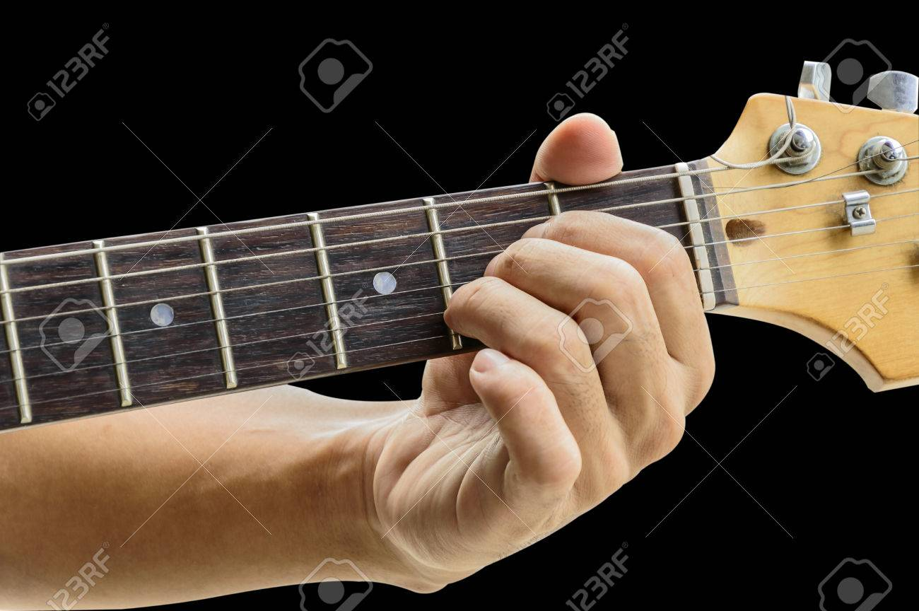 Example For The Guitar Chords Isolate On Black Backgrounda Major