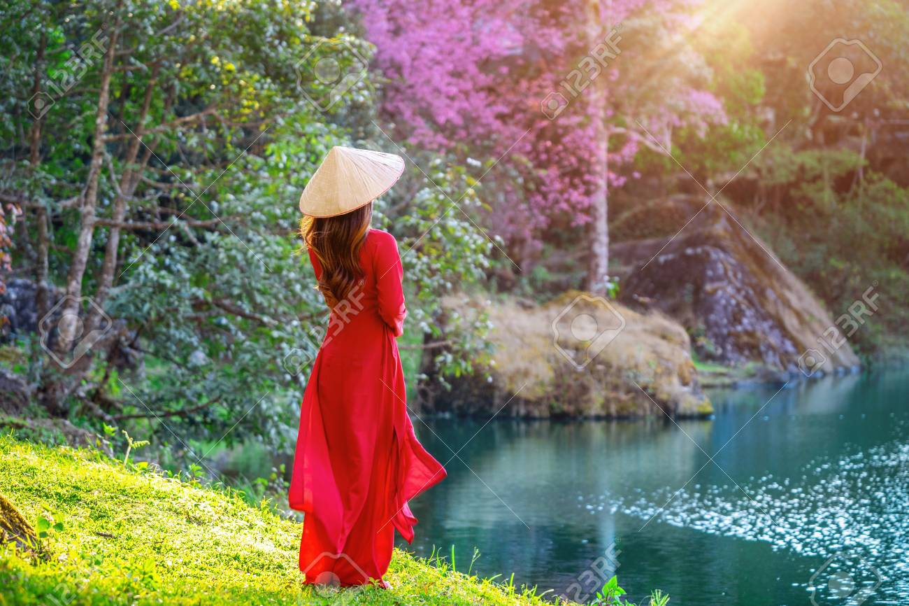 Woman Wearing Vietnam Culture Traditional In Cherry Blossom Park Stock Photo Picture And Royalty Free Image Image 117685578