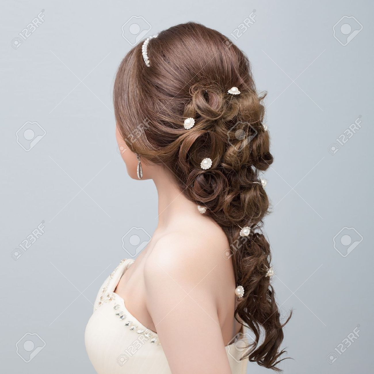 bridal hair style stock photo, picture and royalty free image