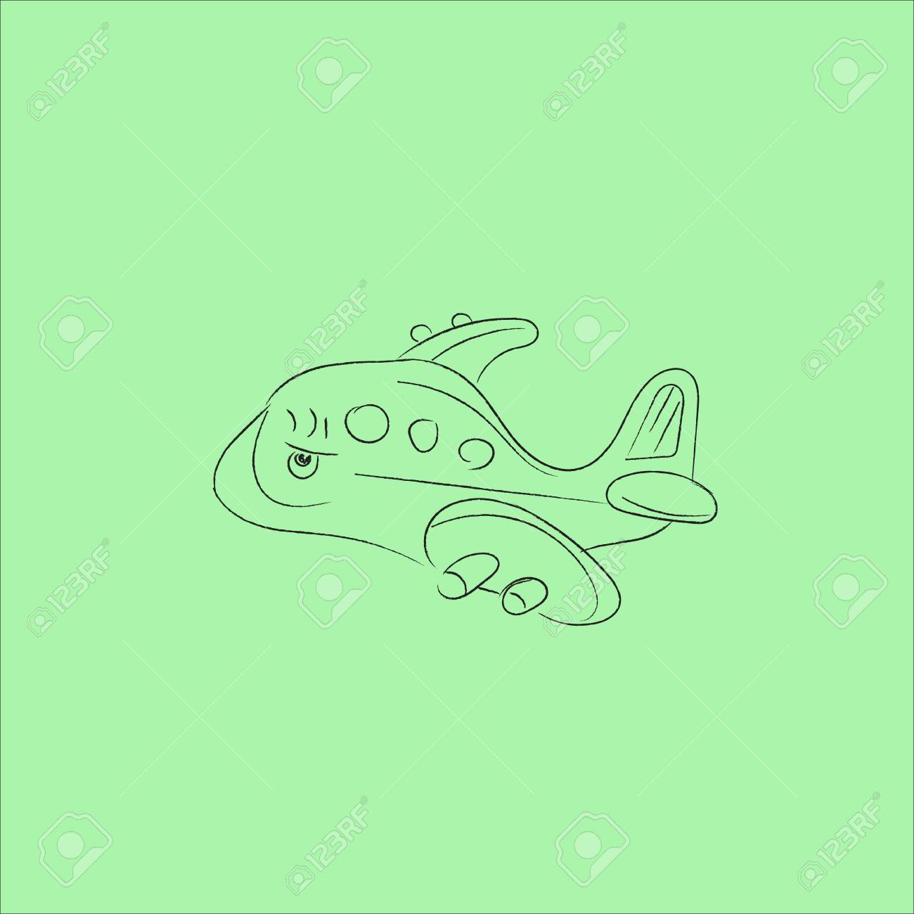 Airplane Cute Cartoon Hand Drawn Style Design In Outline
