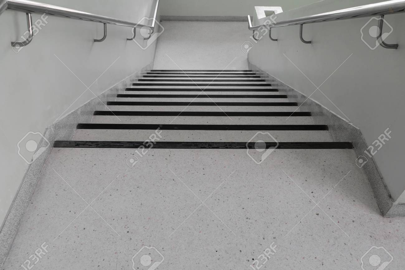 Terrazzo Floor Stairs Walkway Down Select Focus With Shallow