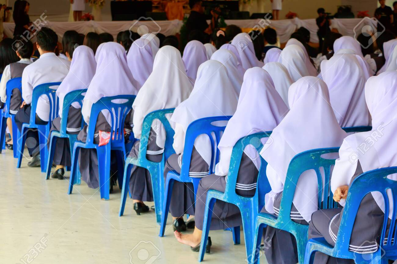 student sit chair plastic blue in seminar the lecture room with