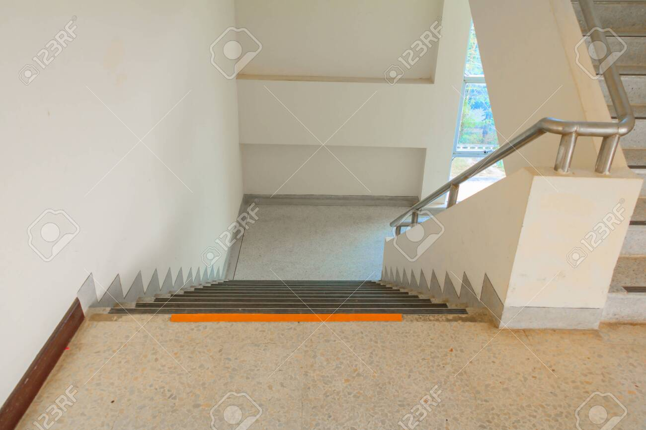 Way Down Stairs Terrazzo Flooring Select Focus With Shallow Depth