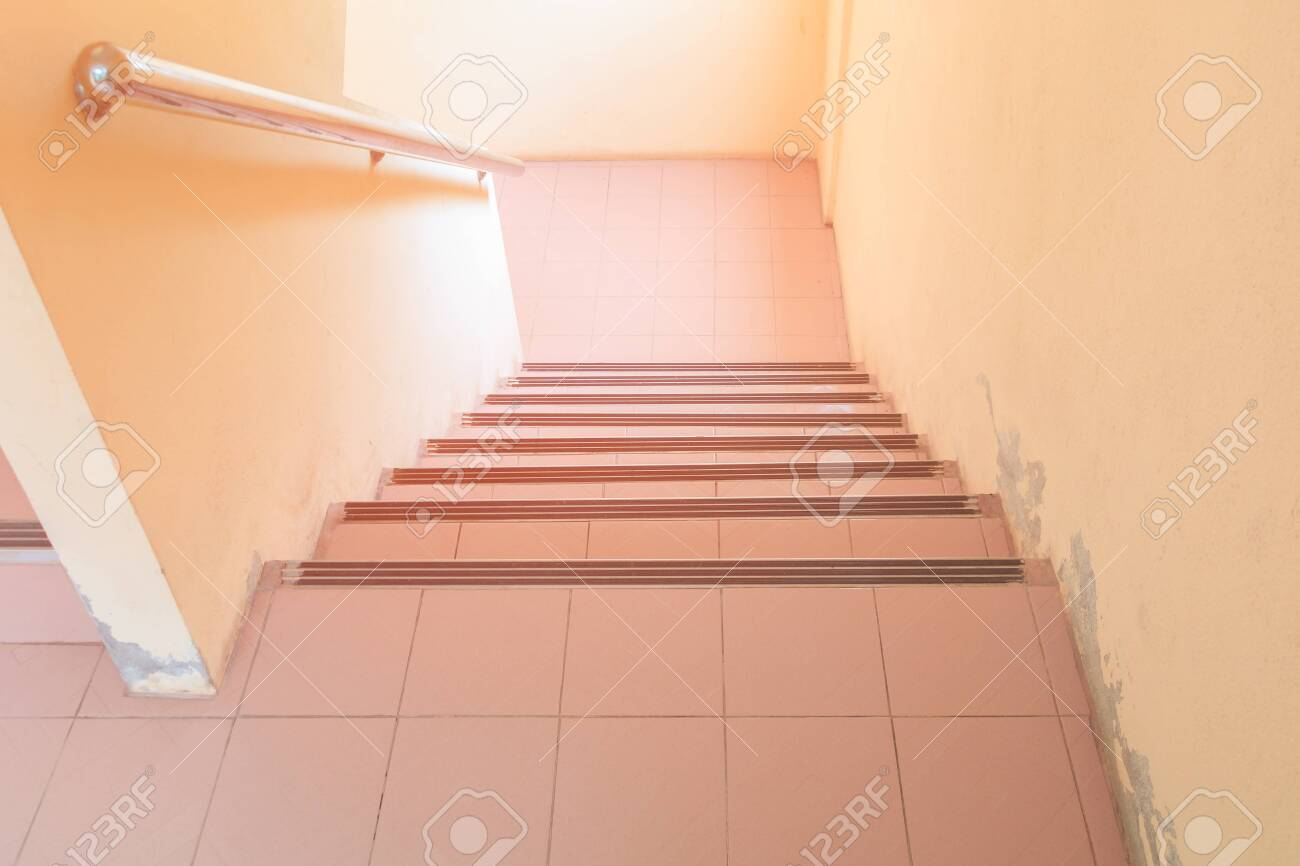 Stairs Walkway Down Terrazzo Floor Select Focus With Shallow