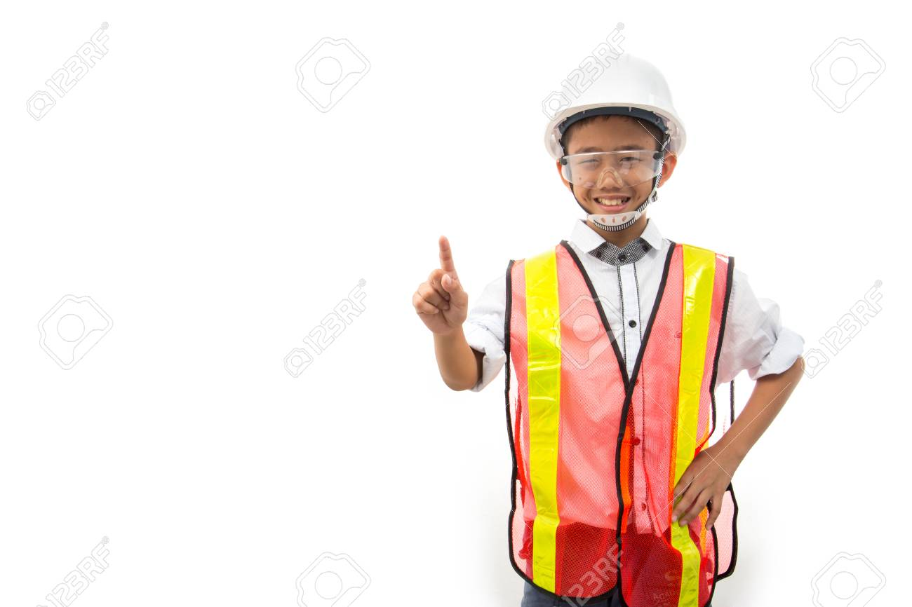 979ff2321a301 Stock Photo - The boy dreams of being an engineer isolated on white  background.