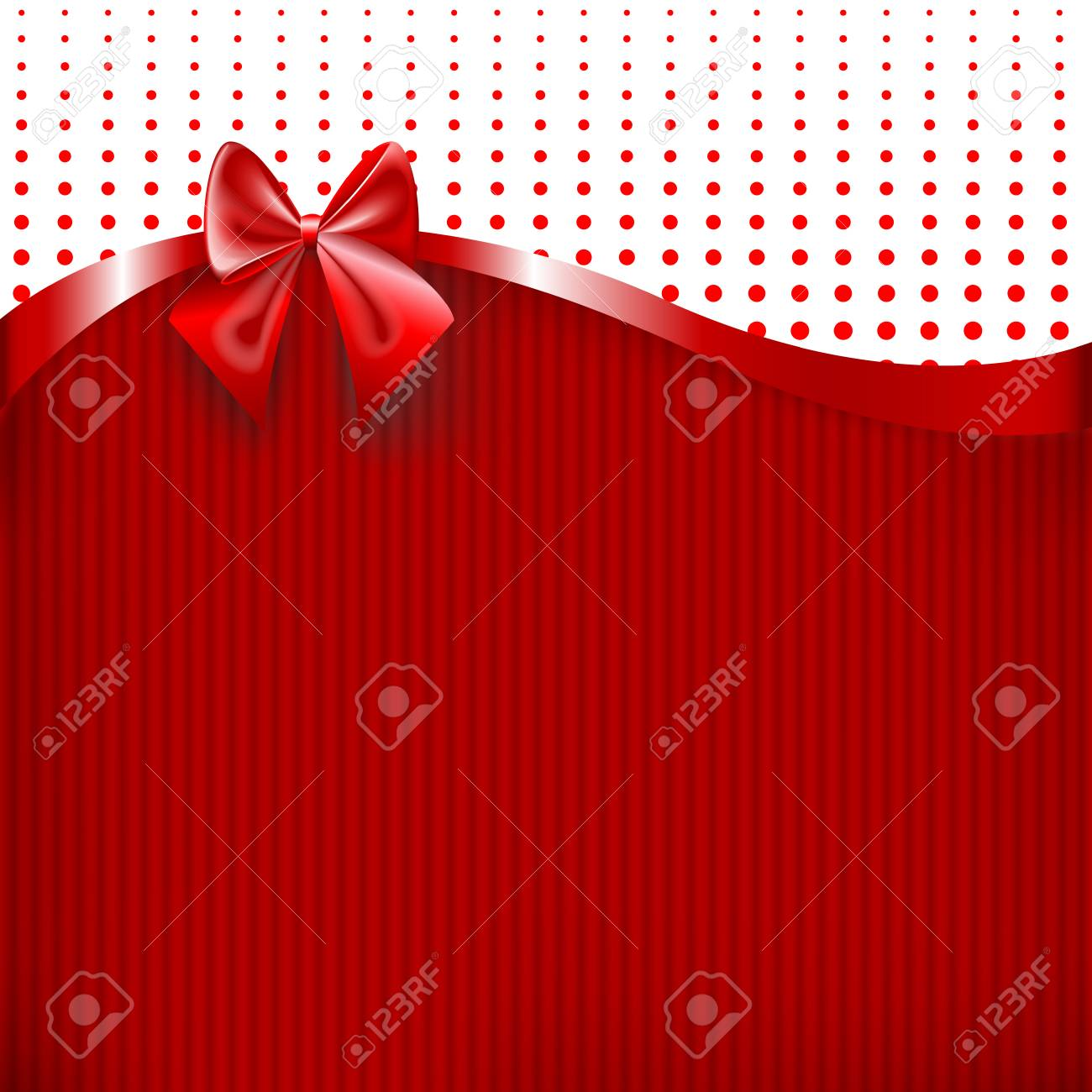 Red Ribbon And Bow On Red Paper Texture Background Vector Illustration