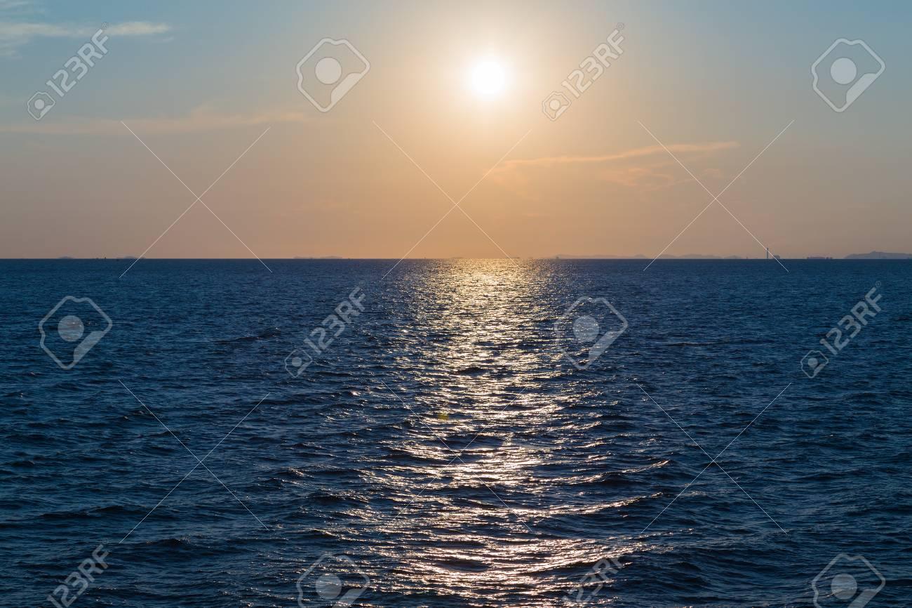 Immagini Stock Tramonto Sul Mare Sfondo Naturale Bellissimo