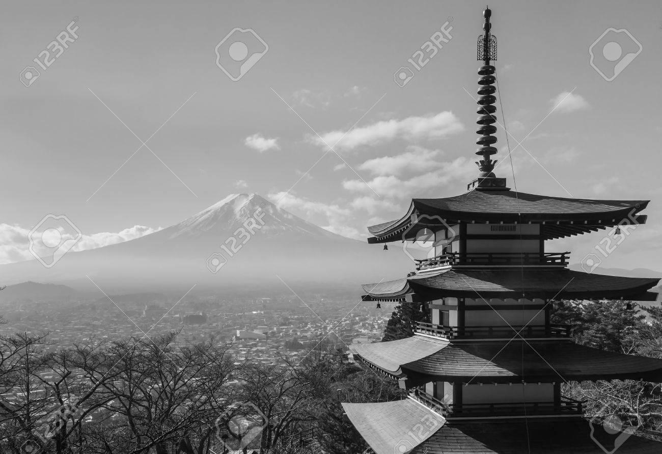 Black and white fuji mountain skyline behind chureito pagoda japan stock photo 64487753
