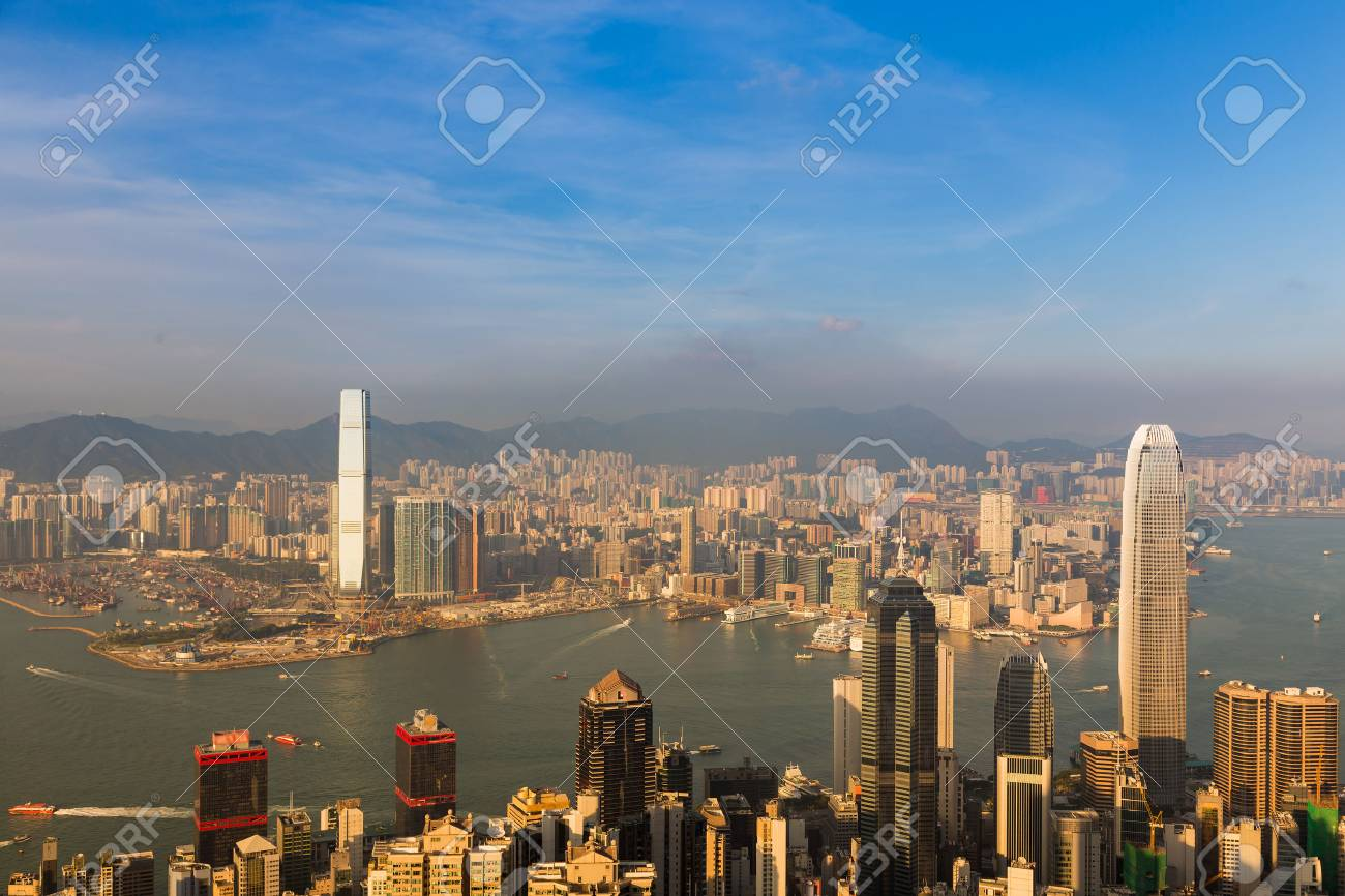 hong kong city downtown with blue sky background cityscape background stock photo 82667555