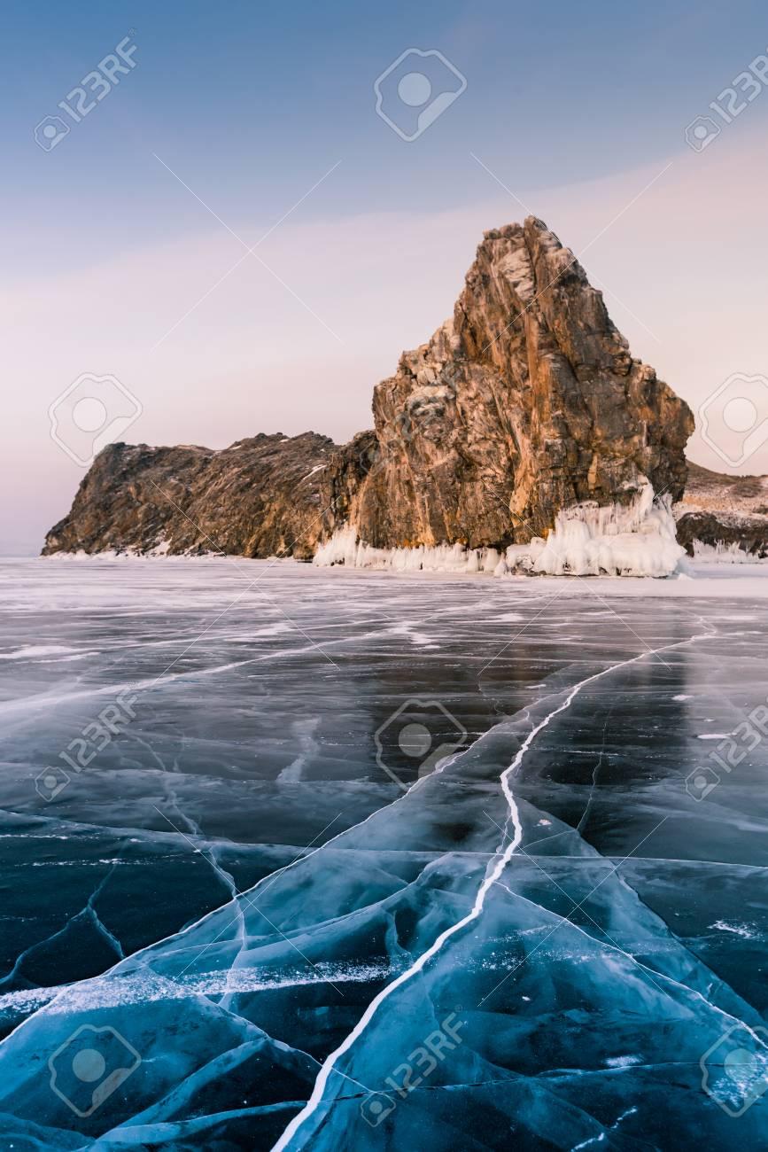 Rock on freezing water lake southern Siberia Baikal Lake, natural