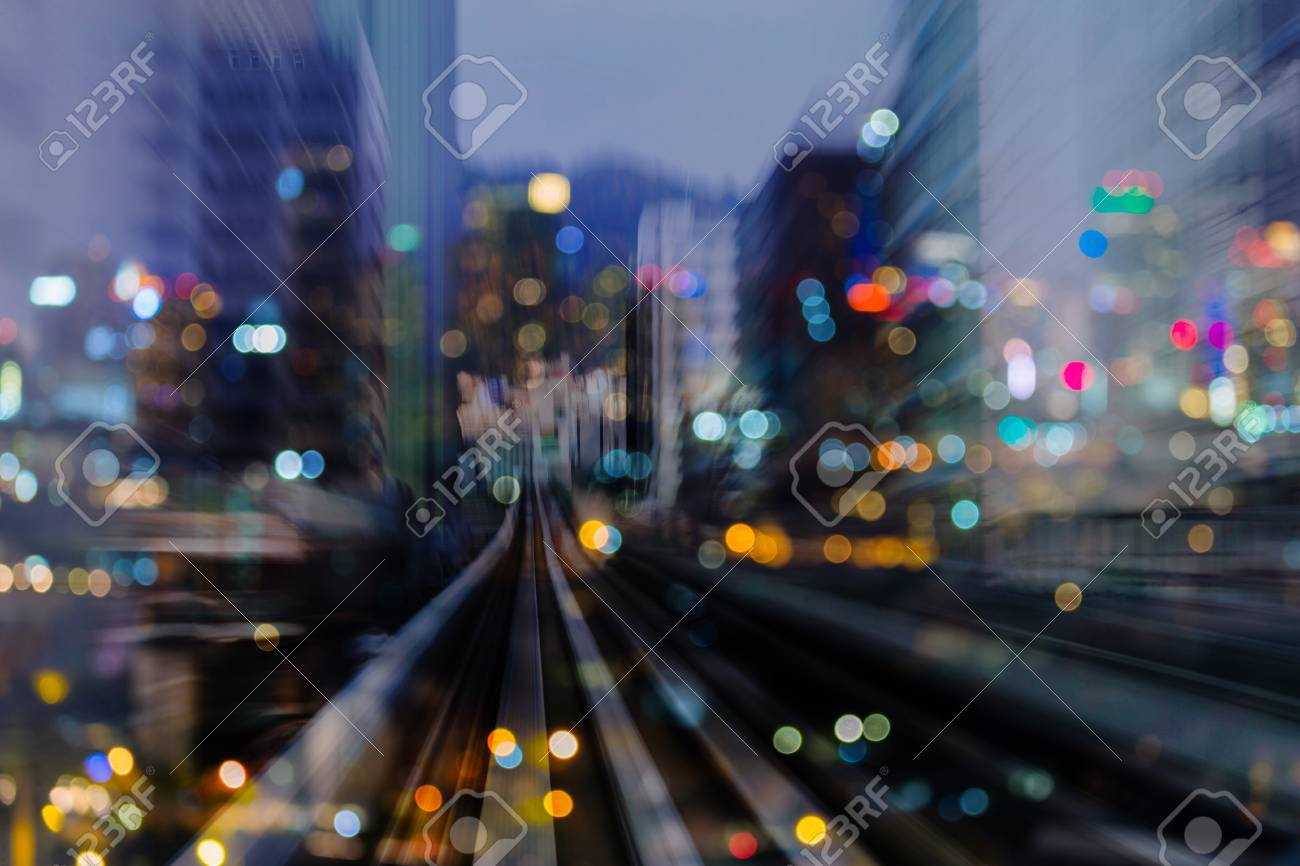 Night light blurred bokeh city building double exposure abstract background - 97514866